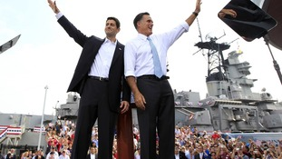 Republican Presidential candidate Mitt Romney (right) and US congressman Paul Ryan (left).