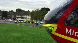 The biker was airlifted to hospital
