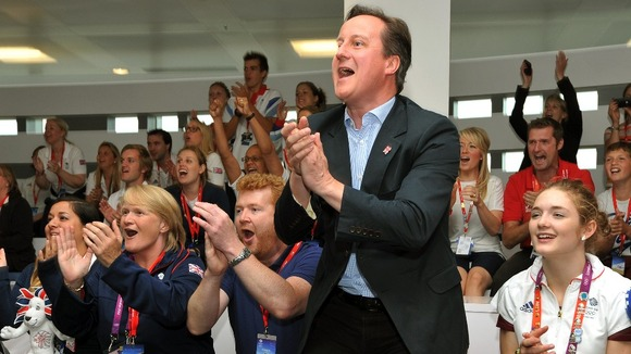 David Cameron cheers on Team GB.