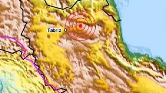 US Geological Survey map showing epicentre of earthquake