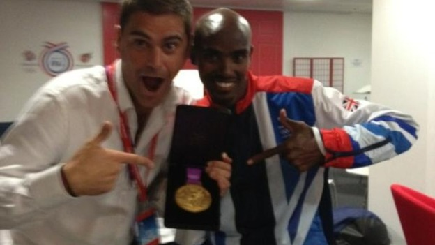 ITV News' Rags Martel and Mo Farah celebrate the Olympian's second gold medal