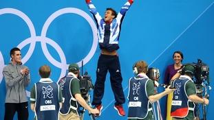 Tom Daley celebrating his Bronze medal