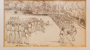 An old drawing of rugby being played
