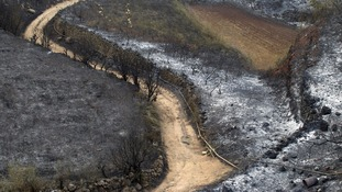Burnt fields caused by wildfires are seen in El Tanque
