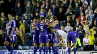 The Ipswich Town players celebrate their win at Elland Road.