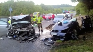 The cars sustained 'massive' amounts of damage