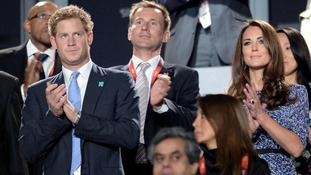 Prince Harry and the Duchess of Cambridge at the Olympic Closing Ceremony
