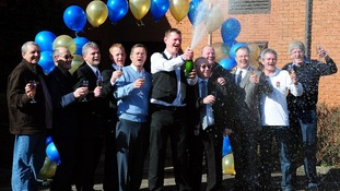 The syndicate of bus drivers who won £38 million in the EuroMillions celebrate
