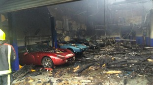Luxury vehicles were destroyed in the blaze