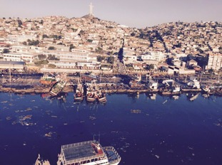 Handout photo of an aerial view of the coastline of Coquimbo city a
