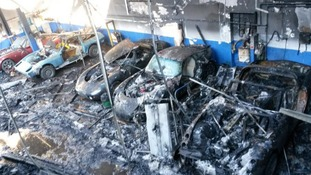 Six luxury vehicles were destroyed in the blaze