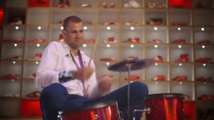 Robbie Grabarz plays the drums