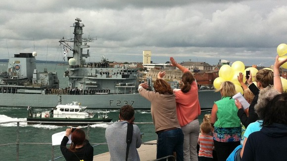 HMS Westminster and balloons.