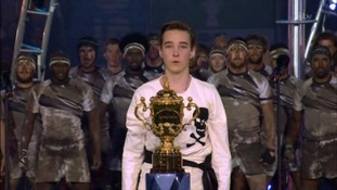 An actor plays Rugby schoolboy William Webb Ellis