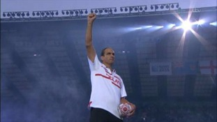 Martin Johnson represents England at the Opening Ceremony.