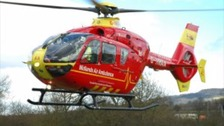 The teenager was airlifted to Hereford County Hospital