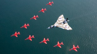The striking formation flew over water, along the coast, near Southport.