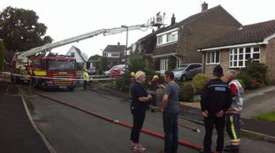 Emergency crews at the scene in Riddings near Alfreton in Derbyshire.