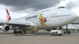 The plane which will fly the Australian Olympians home