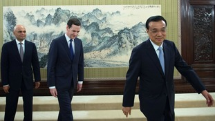George Osborne and Savid Javid are welcomed to the  Prime Minister's office in Beijing