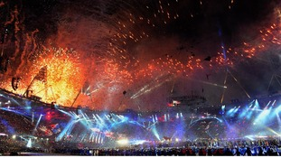 Fireworks mark the end of the closing ceremony