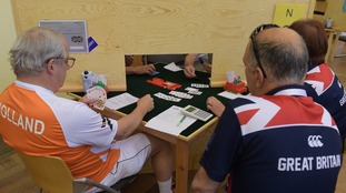 The Netherlands and Britain compete in the card game Bridge