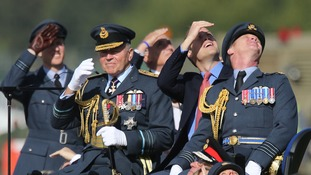 Prince William observed an air display at the RAF base.