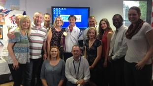 Members of the ITV Anglia team meet Ben