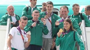 The Irish team arrive back in Dublin
