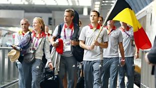 The Belgium team leave London