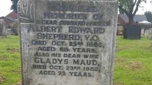 Albert Edward Shepherd's gravestone before it was restored by the Doncaster-based Victoria Cross Trust