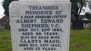 Albert Edward Shepherd's gravestone after it was restored by the Doncaster-based Victoria Cross Trust