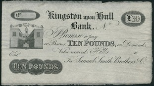 £10 note issued in the 19th century by a private Hull bank is to be auctioned