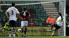 Daniel Johnson scores from the penalty spot at Deepdale