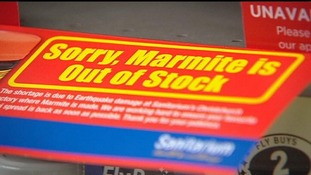 Supermarket signage advising that Marmite is out of stock