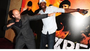 Jason Statham with Tripple Olympic Gold Medalist Usain Bolt arriving for the UK Premiere of The Expendables 2