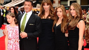 Sylvester Stallone with wife Jennifer Flavin and daughters Sophia Rose, Sistine Rose and Scarlet Rose