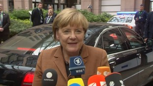 Angela Merkel arriving at the summit in Brussels today.