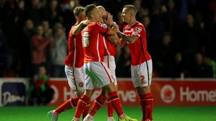 James O'Connor celebrates scoring Walsall's only goal against Chelsea