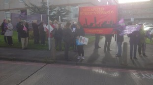 Protestors outside new West Cumberland Hospital