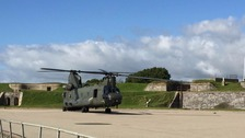 RAF Chinook Helicopter at Tregantle Fort