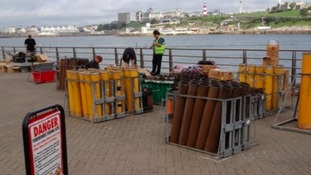 Firework preparations in Plymouth