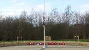 The flag flying at half mast at the Memorial Garden in Carterton