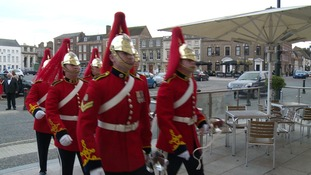 1st the Queen's Dragoon Guard march into Kings Lynn Corn Exchange