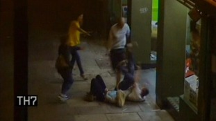 Shocking moment man kicks woman to the floor outside McDonalds
