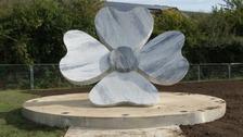 Marble poppy memorial