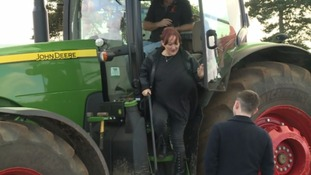 Kerry McCarthy on a tractor