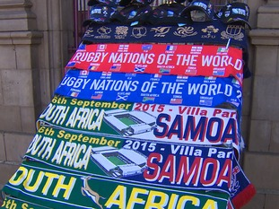 Souvenir scraves on sale outside Villa Park ahead of South Africa v Samoa