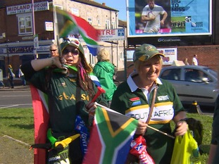 Springbok fans on their way into Villa Park bathed in sunshine.