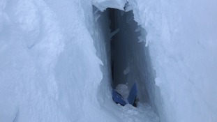 A crevasse at a estimated depth of 25-metres from the glacier surface on Mt. McKinley in Denali National Park, Alaska